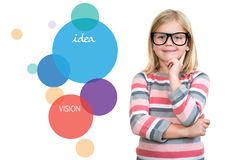 Adorable child in glasses thinking, got idea. Royalty Free Stock Photography