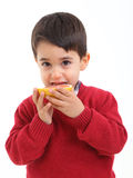 Adorable child with a grapefruit. A child with a grapefruit on white background Stock Image