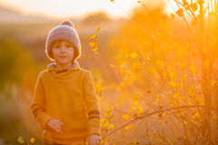 Adorable child, having fun on sunset, making funny faces and dan Stock Photos