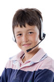 Adorable child with headphones Royalty Free Stock Image