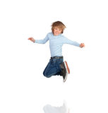 Adorable child jumping stock photos