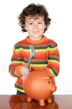 Adorable child with money box of piggy Stock Photography