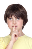 Adorable child ordering silence Stock Images
