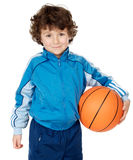 Adorable child playing the basketball Royalty Free Stock Images