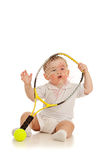 Adorable child playing with tennis racket racket. Adorable child playing with tennis racket and ball over white background Stock Image