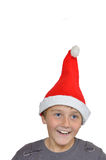 Adorable child with Santa Hat Stock Photo
