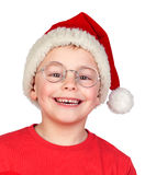 Adorable child with Santa Hat and glasses Royalty Free Stock Photo