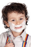 Adorable child shaving Royalty Free Stock Image