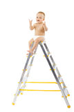 Adorable child sitting on top of stepladder royalty free stock photography