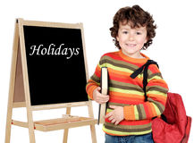 Adorable child with slate Stock Photography