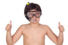 Adorable child with snorkelling equipment Royalty Free Stock Images