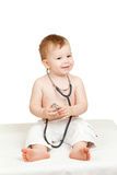 Adorable child with stethoscope in hands. Adorable child with phonendoscope in hands Royalty Free Stock Image