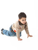 Adorable child in studio walking on. Adorable child in studio  on white background Royalty Free Stock Photography