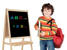 Adorable child studying. Whit slate a over white background Stock Image