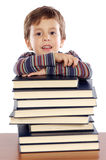 Adorable child studying. A over white background Stock Image