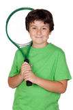 Adorable child with a tennis racket Royalty Free Stock Images