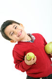 Adorable child with two peers. A child with two peers on white background Stock Photos