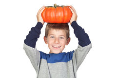 Adorable Child With A Big Pumpkin Royalty Free Stock Images