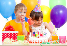 Adorable children celebrating birthday party Royalty Free Stock Photo