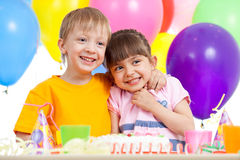 Adorable children celebrating birthday party Royalty Free Stock Photos