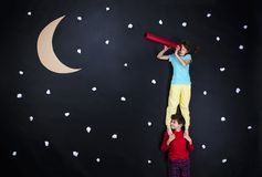 Adorable children getting ready for night sleep Royalty Free Stock Photos