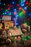 Adorable Christmas gingerbread cottage in the unique place Stock Photography