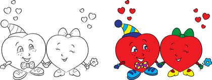 Before and after black and white and color illustration of a heart couple, for Valentine`s Day card or children`s coloring book stock illustration