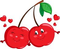 Adorable color kawaii drawing of a cherry couple, happy, in love, with hearts, for children`s book or Valentine`s Day card vector illustration