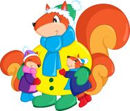 Adorable colored illustration of a mother squirrel and her two children, dressed for winter, perfect for children`s book stock illustration