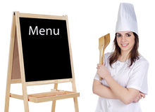 Adorable cook with a blackboard Stock Images