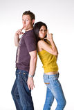 Adorable couple. Caucasian guy and Asian women had their playful moments Stock Image