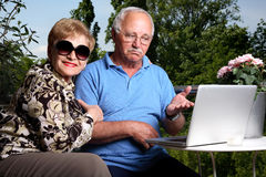 Adorable couple. Adorable senior couple using laptop. Great facial expressions Stock Image
