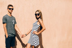 Adorable couple on a sunny day. In the city Royalty Free Stock Image