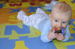 Adorable crawling baby boy indoors Stock Images