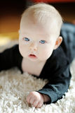 Adorable crawling baby girl. On a floor stock image