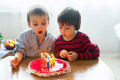 Adorable cute boys, blowing candles on a birthday cake Stock Photos