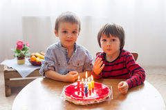 Adorable cute boys, blowing candles on a birthday cake Royalty Free Stock Images
