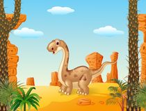 Adorable cute dinosaur with prehistoricbackground Stock Image