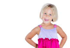 Adorable cute girl with hands on hips Royalty Free Stock Photos