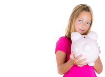Adorable cute girl holding out piggy bank asking for money Stock Images