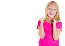 Adorable, cute girl with pink shirt happy with success Royalty Free Stock Photo