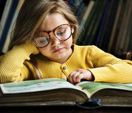 Adorable Cute Girl Reading Storytelling Concept Stock Photo