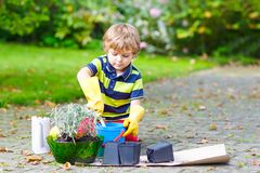 Adorable cute little kid boy planting flowers in home`s garden or farm, on warm sunny spring or summer day. Child having. Fun with gardening. Kid learning being stock photography
