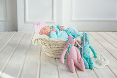 Adorable cute sweet baby girl sleeping in white basket on wooden floor with two toy tilda rabbits Royalty Free Stock Images