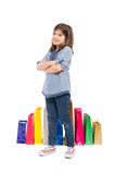 Adorable, cute, young and satisfied shopping girl Royalty Free Stock Images