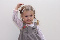 Adorable dancing little girl royalty free stock images
