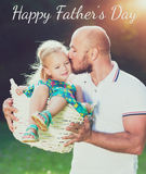 Adorable daughter and father portrait, Father`s day concept. Adorable daughter and father portrait, happy family, Father`s day concept Stock Photo