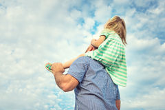 Adorable daughter and father portrait, future concept Royalty Free Stock Photo