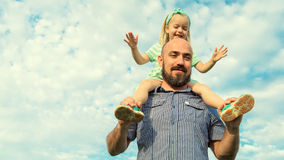 Adorable daughter and father portrait, happy family concept Royalty Free Stock Photos