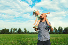 Adorable daughter and father portrait, happy family concept Stock Photography